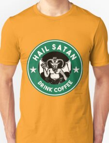 Hail Satan... Drink Coffee! Red Coffee Cup Design with the Devil Unisex T-Shirt