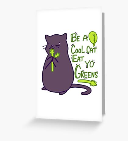 Green Kitty! Greeting Card
