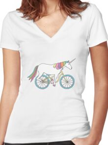 Unicorn Riding a Bicycle Women's Fitted V-Neck T-Shirt