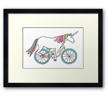 Unicorn Riding a Bicycle Framed Print