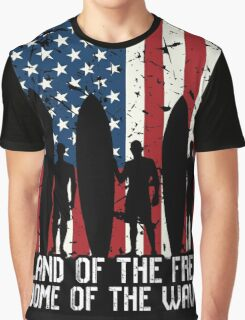 Land Of The Free Home Of The Wave, Surfer Quote National Surf Day Graphic T-Shirt