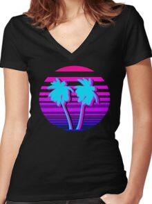 Aesthetic Palm trees Women's Fitted V-Neck T-Shirt