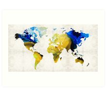 World Map 16 - Yellow And Blue Art By Sharon Cummings Art Print