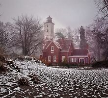 Winter at Presque Isle Light by Kathy Weaver
