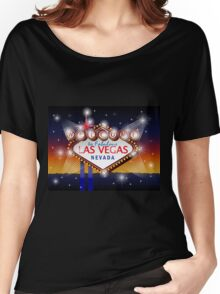Welcome to fabulous Las Vegas Nevada sign in blue gold background, vector Women's Relaxed Fit T-Shirt