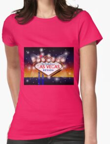 Welcome to fabulous Las Vegas Nevada sign in blue gold background, vector Womens Fitted T-Shirt