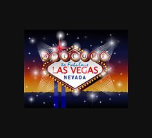 Welcome to fabulous Las Vegas Nevada sign in blue gold background, vector Unisex T-Shirt