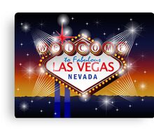 Welcome to fabulous Las Vegas Nevada sign in blue gold background, vector Canvas Print