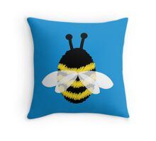 Bumble bee on blue... Throw Pillow