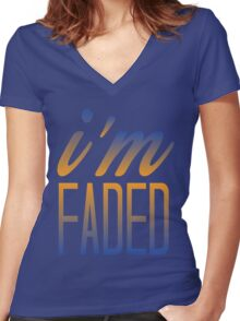 Faded Multi Women's Fitted V-Neck T-Shirt