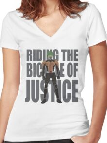 The bycicle of justice Women's Fitted V-Neck T-Shirt
