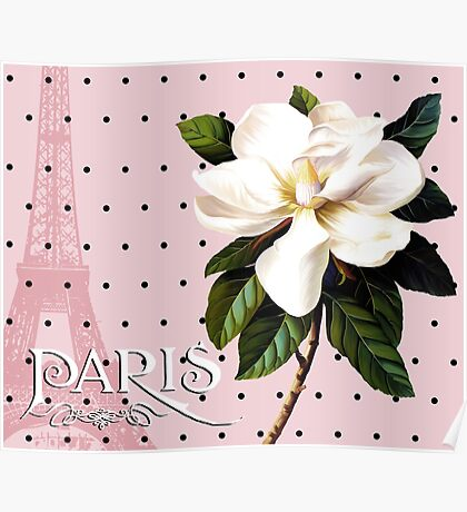 Sophisticated Parisian White Magnolias black polka dots, Eiffel Tower France Poster