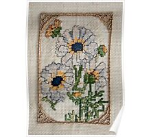 Cross Stich Embrodery of Daises  Poster