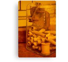 Antique thread spool glass jar Canvas Print