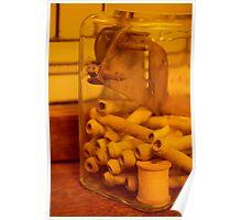 Antique thread spool glass jar Poster