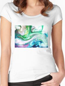 Green Blue Purple Yellow White Swirl Abstract Women's Fitted Scoop T-Shirt