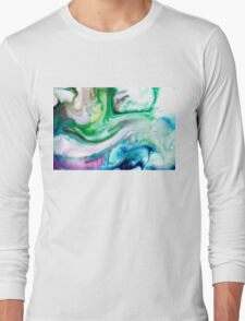 Green Blue Purple Yellow White Swirl Abstract Long Sleeve T-Shirt