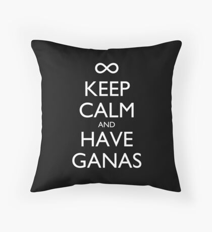 Keep Calm and Have Ganas Pillow (black) Throw Pillow