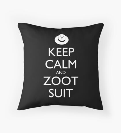 Keep Calm & Zoot Suit (black) Throw Pillow