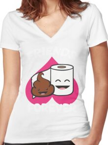Friends Forever - Poop and Toilet Paper Roll Women's Fitted V-Neck T-Shirt