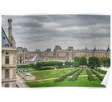 Panoramic view Musee du Louvre Paris Poster
