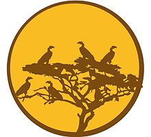 Tree savanna Vulture Africa Sun by Style-O-Mat