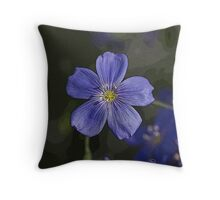 Blue Flax Flower Pillow - Stylized with unique enhancements Throw Pillow