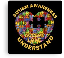 Autism Awareness Puzzle Heart Canvas Print