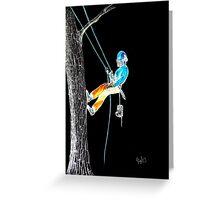 Neon Arborist Tree Surgeon Lumberjack Logger Stihl chainsaw Greeting Card