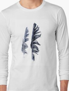 bird feathers in dark blue, illustration Long Sleeve T-Shirt