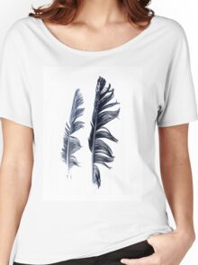 bird feathers in dark blue, illustration Women's Relaxed Fit T-Shirt