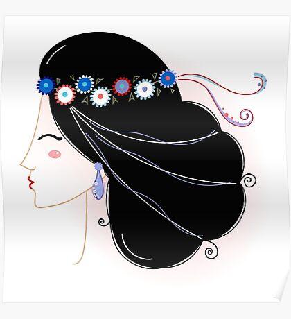 Slavic Woman Original fashion Illustration Poster