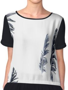 bird feathers in dark blue, illustration Chiffon Top