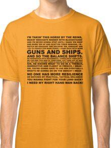 Hamilton   Guns and Ships Lyrics Classic T-Shirt