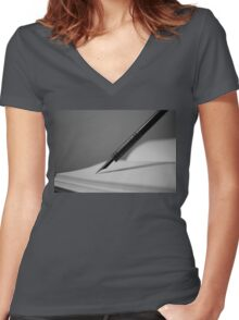 Quill in Black & White Women's Fitted V-Neck T-Shirt