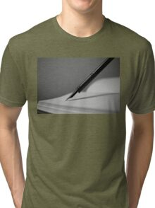 Quill in Black & White Tri-blend T-Shirt