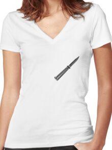 Black Butterfly Knife  Women's Fitted V-Neck T-Shirt