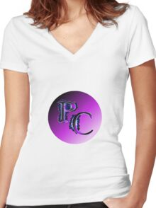 Purplecast Logo PC  Women's Fitted V-Neck T-Shirt