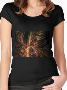 Orange Butterfly - Abstract Fractal Artwork Women's Fitted Scoop T-Shirt