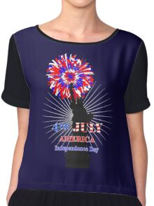 American Independence Day Happy 4th Of July Celebration Graphic Chiffon Top