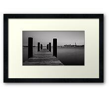 Monochrome Auckland City Pier Framed Print