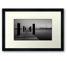 Monochrome Auckland City Pier Framed Print