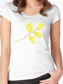 Yellow willow catkins watercolor Women's Fitted Scoop T-Shirt