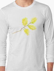 Yellow willow catkins watercolor Long Sleeve T-Shirt