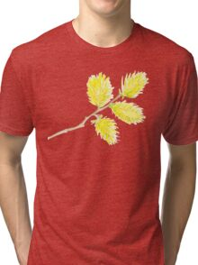 Yellow willow catkins watercolor Tri-blend T-Shirt