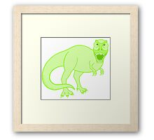 Green T Rex Dinosaur Colorful Prehistoric Animal Framed Print