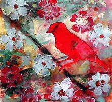 """Red Bird Singing by Belinda """"BillyLee"""" NYE (Printmaker)"""