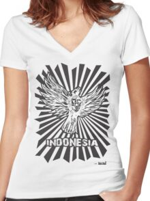 INDONESIA CULTUR Women's Fitted V-Neck T-Shirt