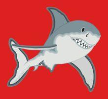 Gray Great White Shark Cartoon Fanciful Sea Creature One Piece - Long Sleeve