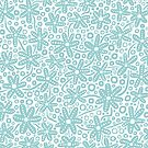 Stylised Floral Design - Light Blue Green by Artberry